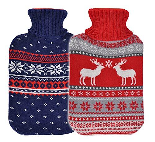 Bambelaa! 2er Set Große Wärmflaschen Bettflaschen Flauschbezug zwei Designs Rot & Blau Wärmekissen Strickmuster Winterdesign (2 x 2 Liter)
