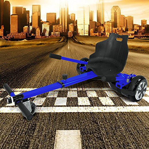 """Hoverkart mit Beleuchtung für alle Hoverboards und Self Balance Scooter (6,5\"""" / 8.0\"""" / 10\"""") GoKart verstellbar Hoverseat (Blau)"""