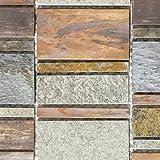 Mosaik Fliese Kupfer grau rost kupfer Kombination Stein für WAND BAD WC DUSCHE KÜCHE FLIESENSPIEGEL THEKENVERKLEIDUNG BADEWANNENVERKLEIDUNG Mosaikmatte Mosaikplatte