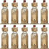 Sacchetti di Tela Iuta per Vino, 14 x 5.8 Pollici Riutilizzabili Sacchetti di Vino con Corde di Cotone e Etichette (10)