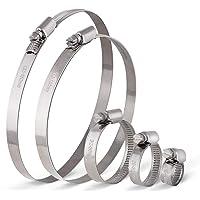20 Pcs Collier de Serrage Ajustable en Acier Inoxydable Tuyau Pinces Clips Fixation avec 8-16mm 20-32mm 32-50mm 110-130mm 130-150mm de Cerceau Ton argent