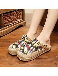 CWJDTXD Zapatillas de verano Zapatos de cáñamo de primavera casual luz salvajes zapatos de lino patrón