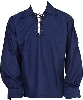SHYNE KILTS U.K Scottish Navy Blue Jacobite Ghillie Kilt Shirt Leather Cord