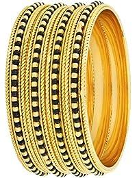 The Jewelbox Wedding Rope Beads Design 18K Gold Plated Black Brass Bangle Kada Set Of 4 Girls Women