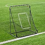 Homcom Filet de Rebond de Football Hauteur réglable dim. 112L x 108l x 130-150H avec piquets d'ancrage + Cible Acier époxy Noir