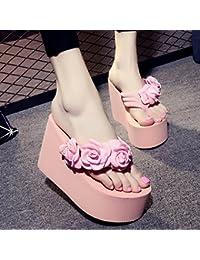 Der Sommer kommt. Hausschuhe Frauen Mode Rutschfeste dicke Kruste high-heeled flip flops Neue handgearbeitete Blumen Sandalen und Hausschuhe Sandalen und Hausschuhe Hausschuhe klein sind ist es empfehlenswert einen groszlig;en Hof Hausschuhe klein ist w