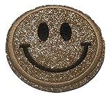 Bügel Iron on Smiley Aufnäher Patches Glitzer für Jacken Cap Hosen Jeans Kleidung Stoff Kleider Bügelbilder Sticker Applikation Aufbügler zum aufbügeln Farbvarianten 6 cm (Gold)