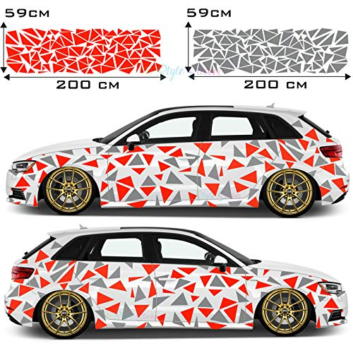 Dreiecke Autoaufkleber Sticker Seite Auto Car-Tattoo Farbig Tarn-Look Camo Aufkleber 222 Stück Camouflage Style New Karosserie Deco