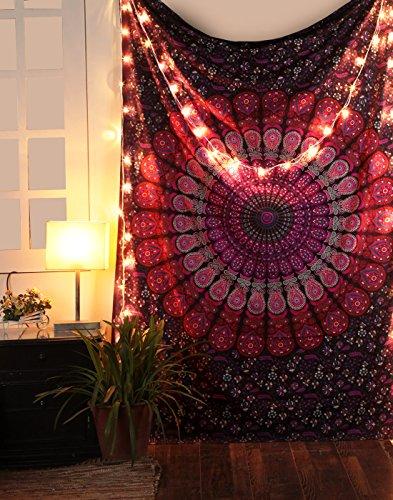 RAJRANG Wandteppich Mandala Tuch Rosa Indischer Wandbehang Indisch Bohemian Deko Hippie Tapestry Indisch Blumen Wandtücher Goa Wandtuch
