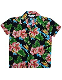 04d2341fb13485 Hawaiian Shirts Boys Allover Flower Beach Aloha Party Camp Holiday Casual