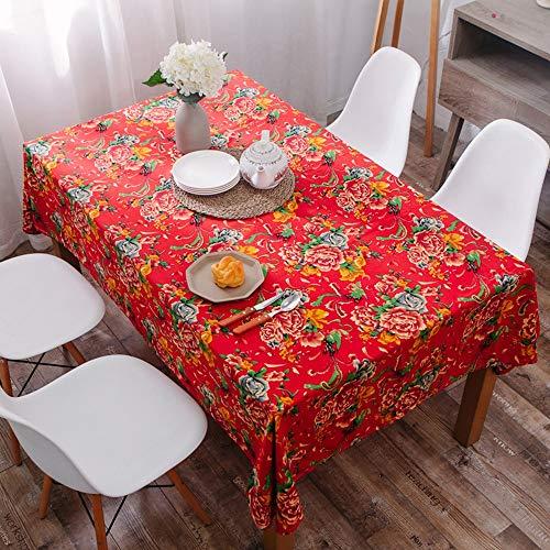 Tovaglia rosso, grande fiore tovaglia, tessuto di cotone e lino ristorante caffè tovaglia tovaglia agriturismo (size : 140 * 200cm)