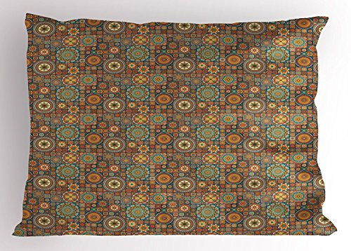 fringcoook Moroccan Pillow Sham, Old Fashioned Eastern Style Mosaic Composition with Folk Mandala Motifs, Decorative Standard Queen Size Printed Pillowcase, 30 X 20 Inches, Turquoise Orange