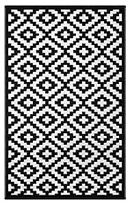 Green Decore tappetino ecologico in plastica riciclata, modello Nirvana, per interni ed esterni, leggero e reversibile, Black/White, 180 x 270 cm