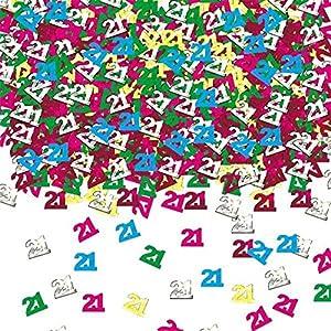 Gifts 4 All Occasions Limited SHATCHI-158 - Confeti para decoración de mesa (14 g, 21 años), diseño de confeti