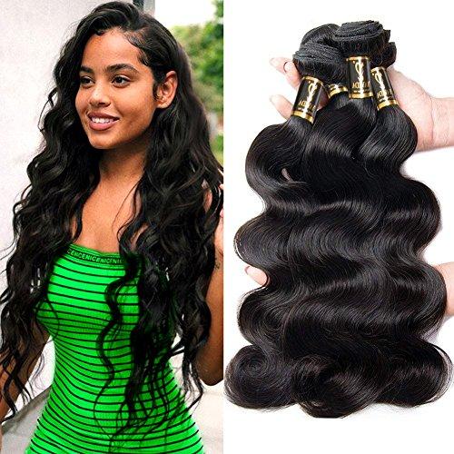 Yavida Tissage Cheveux Bresilien en Lot 8A Cheveux Naturel Brésilienne Tissage Onde Corporelle Cheveux Humain Ondulé Tissage Naturel 300g 12 14 16 Pouces
