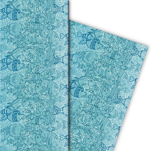 Unter Wasser/Aquariums Geschenkpapier Set (4 Bogen)   Dekorpapier mit Fischen für tolle Geschenk Verpackung zur Taufe, Geburt, Ostern, Geburtstag, Hochzeit, Weihnachten u.v.m. (32 x 48cm), auf blau (Fische Tolle)