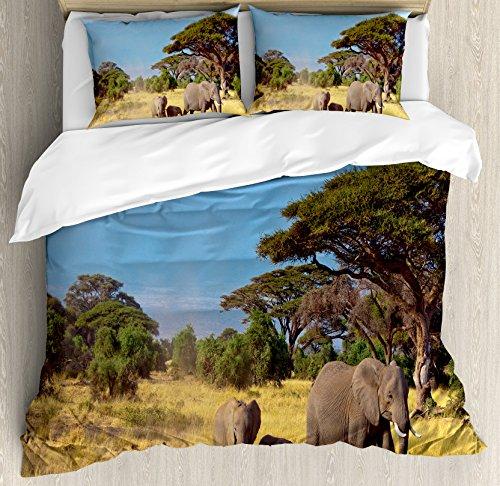 Funda nórdica Safari por Ambesonne, familia de elefantes en frente de Kilimanjaro...