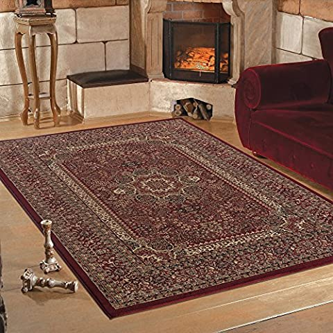 Quality Oriental Traditional Bordered Classic Design Soft Red Rug in