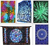 By Future Handmade Wholesale Pack of 5 Twin Tapestries Tree Of Life Colourful Bed Sheet Celtic Cycle of Ages Tie Dye Tapestry Mandala Art Forest Tapestry Wall Hanging Home Decor Bedspread