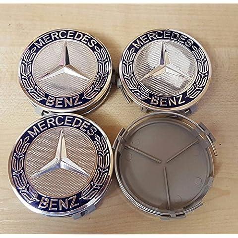 Azul para Mercedes Benz 75mm tapas de emblemas de llantas de aleación Centro x4