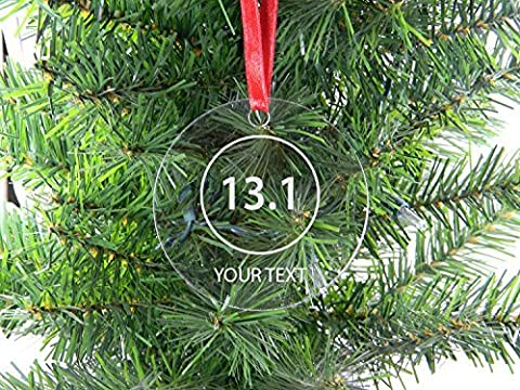 Personalized Custom 13.1 Half Marathon Runner Clear Acrylic Hanging Christmas Tree Ornament with Red Ribbon Perfect Holiday Gift! Contact Seller for Custom Text or Leave a Gift Message at Checkout! by