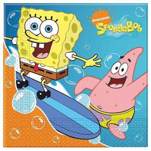 Procos Spongebob Surfing 2-lagige Papierservietten 33x33cm