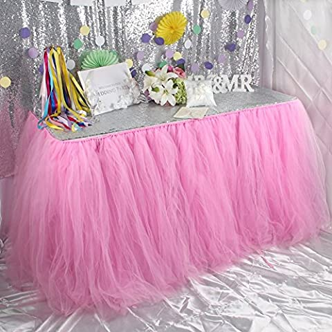 OurWarm Tutu Table Skirt Tulle Tablecloth Wedding Baby Shower Birthday Girl Princess Party Decorations 100cm x 80cm