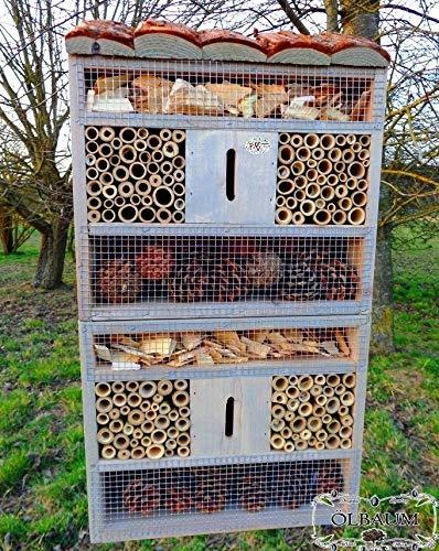 Oelbaum insektenhotel, mit Holzrinde-Naturdach, FDV-Host-OS hell grau Weiss Silbergrau Überwinterung Schmetterlingshaus Nest