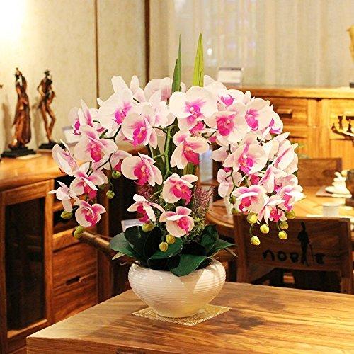 Jnseaol Kunstblumen Orchidee Diy Hochzeit Hotel Party Küche Fensterbank Eine Große Dekoration Keramik Topf Weiß -03