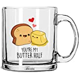 Tonkwalas You're My Butter Half Printed Transparent Glass Coffee and Tea Mug Birthday Gift, Anniversary Gift to Wife, Husband