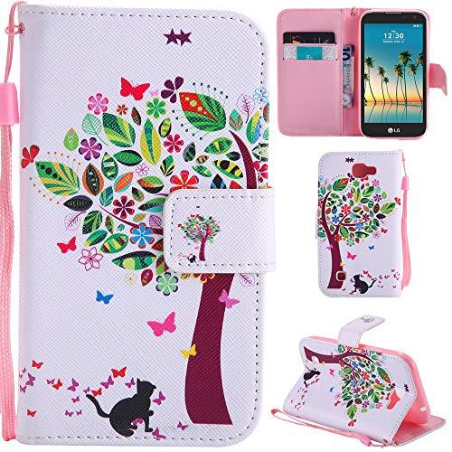 Ooboom® LG K3 2017 Hülle Flip PU Leder Schutzhülle Handy Tasche Case Cover Wallet Standfunktion mit Kartenfächer Trageschlaufe für LG K3 2017 - Bunte Baum