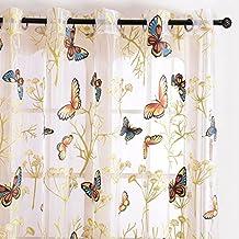 Top Finel cortina transparente de paneles para sala de estar,visillo de mariposa,195 cm anchura por 245 cm longitud,ojales,solo panel