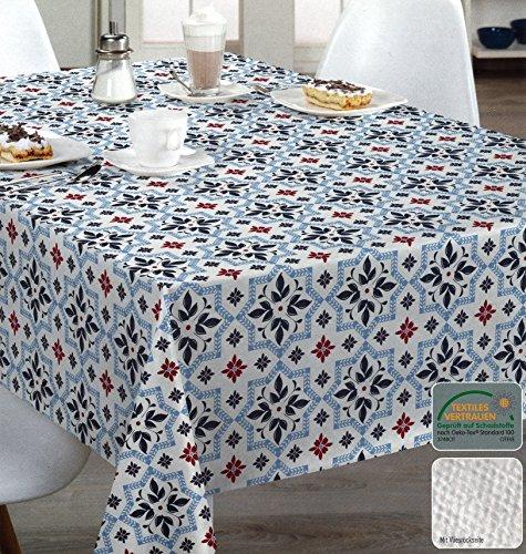 heimtexland Wachstuchtischdecke 100 x 140 cm hochwertige Qualität mit Vliesrückseite Fliesen Mosaik Marrakesch Tischdecke Wachstuch blau weiß rutschfest abwischbar ÖKOTEX zertifziert Typ515