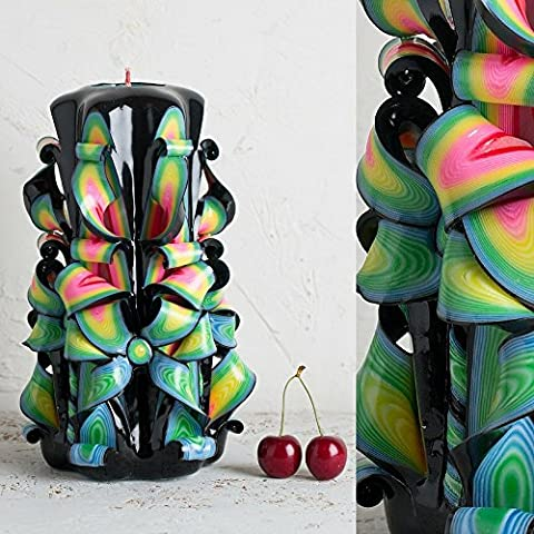 Decorative Carved Candle - Black Multicolor Bright Vivid Colors - Men and Women Gifts - EveCandles