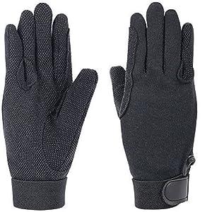 Baumwoll Reit Handschuhe schwarz mit Grip verschiedene Größen, Auswahl:M