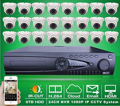 Preisvergleich Produktbild Gowe 24CH NVR System Netzwerk CCTV-Set H.264Video Recorder 9TB HDD 242MP Indoor Dome IR Netzwerk IP Kamera 1080P Sicherheit System
