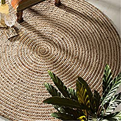 The Indian Arts Fair Trade Redondo 100% Yute Trenzada Alfombra, Tejido, Beige, 120 Diameter