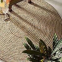 Fair Trade redondo 100% Yute trenzada Alfombra, tejido, beige, 120 Diameter