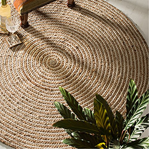 fair trade teppiche The Indian Arts Fair Trade rund 100% Geflochtenen Jute Teppich, Textil, beige, 120 Diameter