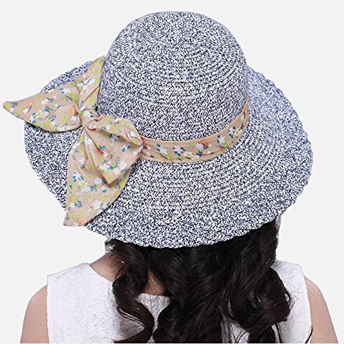 Chapeau de soleil Chapeau de paille Femme Chapeau de plage d'été Chapeau de soleil pliable Chapeau de soleil de voyage Grand soleil Plage Cap ( Couleur : 1 ) 5