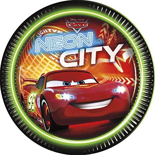 Disney 23cm neon Cars Pappteller, 8Stück
