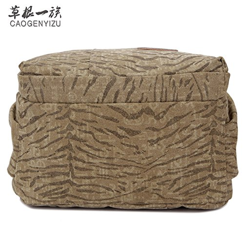 Canvas Tasche Mann Lady Rucksack Tasche Freizeit Tasche 15 Zoll Computer Bag Sporttasche Simple Mode, Braun Khaki