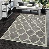 TT Home Kurzflor Teppich Modern Marokkanisches Design Wohnzimmer Interieur Trend Grau, Größe:240x340 cm
