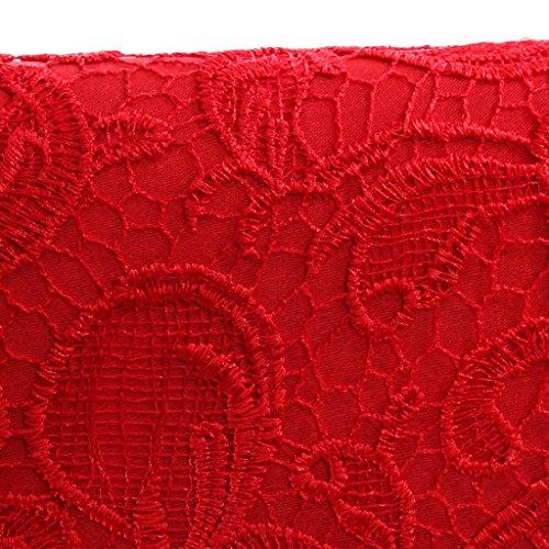 Sharplace Damen Clutch Tasche Abendtasche Geldbeutel Party Kettentasche Hochzeit - Beige, 26,5 x 4 x12cm Rot