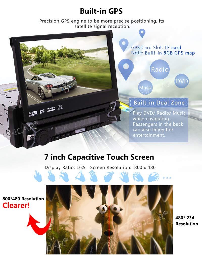 EinCar-Einzel-Auto-DVD-Player-7Zoll-GPS-Navigations-1-Din-Autoradio-kapazitive-Touch-Screen-Bluetooth-Stereo-Untersttzung-Spiegel-Link-FM-AM-RDS-SWC-USB-SD-CAM-IN-mit-8-GB-Karte-Card-Fernbedienung