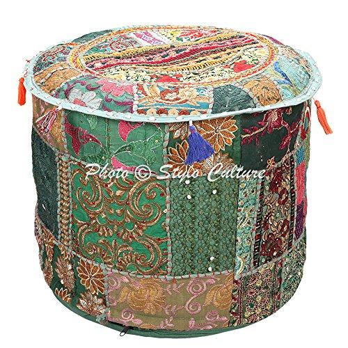 Stylo Culture Pouf Sitz Sitzsack Ottoman Pouffe Cover Dunkelgrün Ethnisch Bestickt Patchwork...