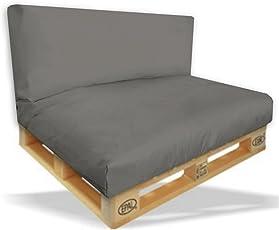 Palettenkissen Sitzpolster 2er Set   120x80x15cm + Rückenkissen 120x40x10cm  Farbe Anthrazit   In U0026 Outdoor