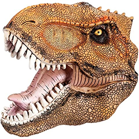 Carnival Toys - Máscara de goma Eva dinosaurio, con encabezado, color naranja (1402)