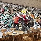 YUYINGXIANG Photo Papier Peint 3D Stéréoscopique Voiture Broken Wall Rétro Nostalgie Graffiti Art Bar Restaurant Toile de Fond Mur Peintures Murales