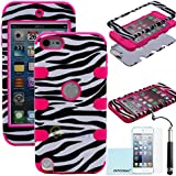 iPod Touch 5th 6th Generation Case, iPod Touch 5/6 Case Genuine ZAFOORAH Hybrid Shockproof Hard Defender 3 Layers with 3 Bonus items Stylus, Screen Protector, Microfiber Cloth (Zebra - 3 Layers - Dark Pink)